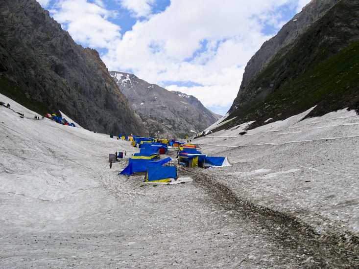 Amarnath Base Camp during Amarnath Yatra 2016, Jammu and Kashmir, India