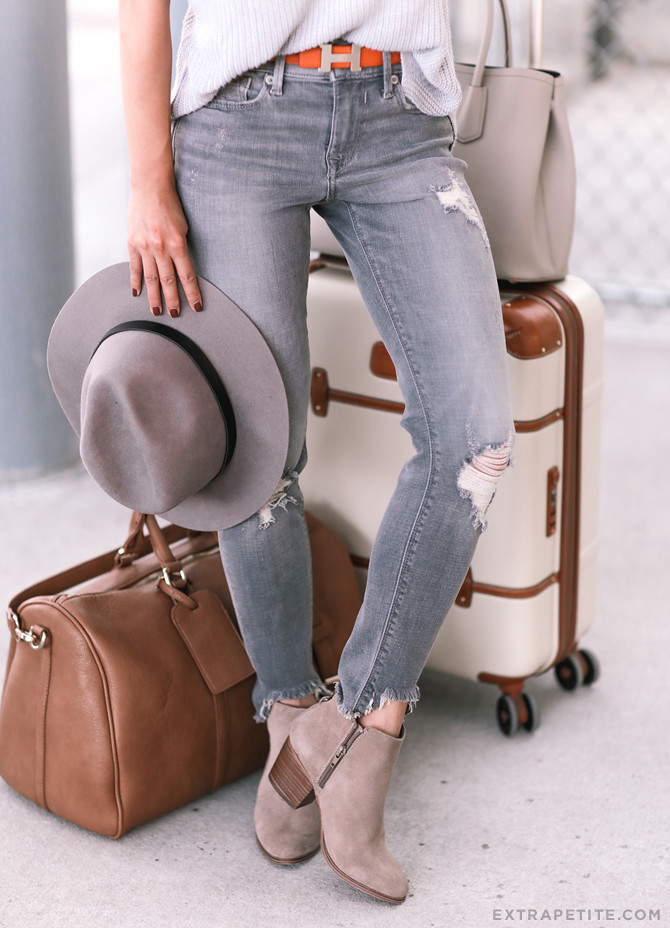 travel outfit essentials weekender bag ankle booties