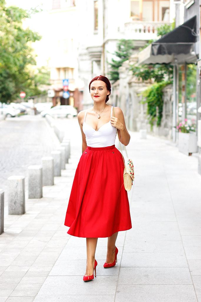 red midi skirt4