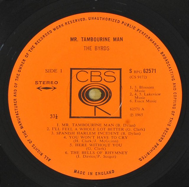 THE BYRDS MR TAMBOURINE MAN UK 1ST PRESSING 1A-1/1B-1
