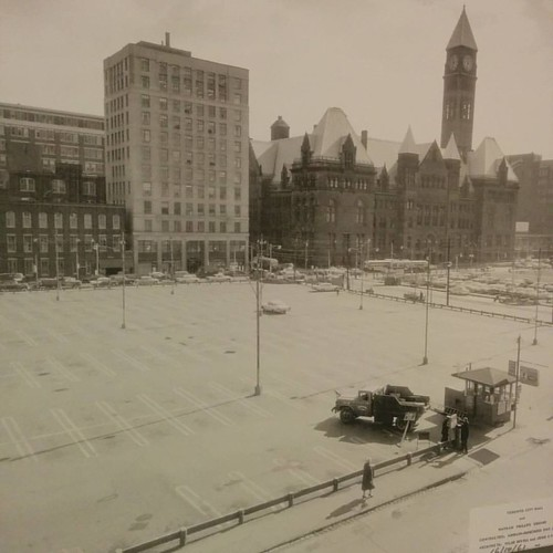 From photo of future Nathan Philips Square, 16 October 1961 #toronto #ago #artgalleryofontario #theideaofnorth #cityhall #nathanphilipssquare #viljorevell #parkinglot #pandaassociate #harrisago