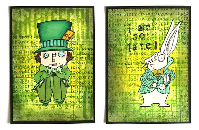 These are going out to my swap partners for the september #stampotiqueoriginals ATC swap #aliceinwonderland #stampotique #ATC #rubberstamping #rubberstamp #artistsofinstagram #colorful #madhatter #thewhiterabbit #hareandhatter #leprechaungreen #greenhues