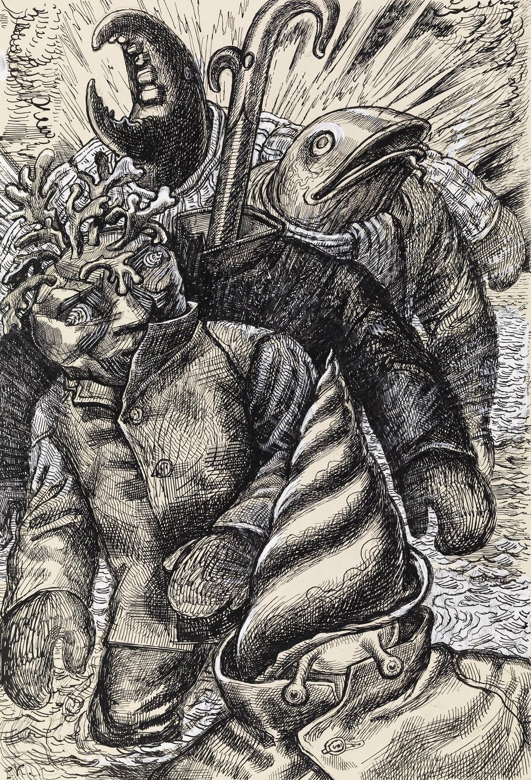 """Per Krohg - Draugen Come Ashore,Illustration for """"Tufte People at Sandflæsa """" in P. Chr. Asbjørnsen and J. Moe, Total Adventure,1936"""