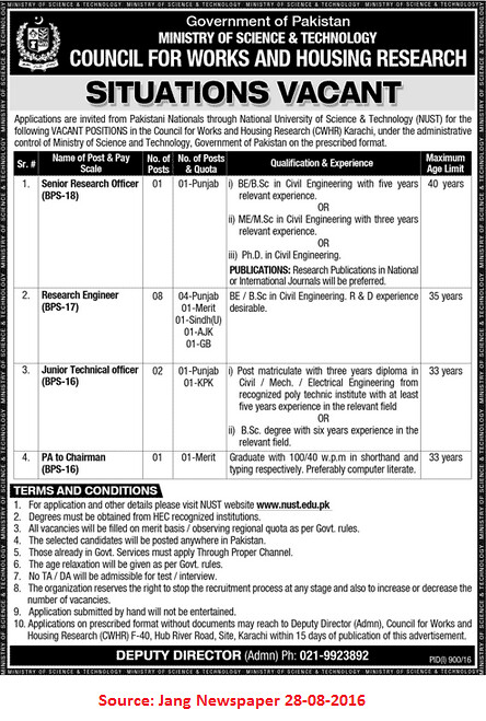 Government of Pakistan Ministry of Science and Technology Jobs