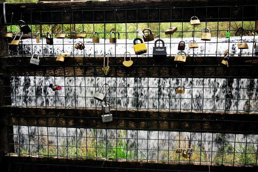 Love padlocks at Rouken Glen, Glasgow
