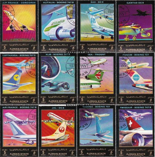 Známky Ajman 1972 Komerčné moderné lietadlá, razítkované