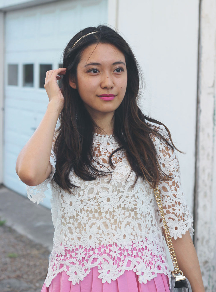 Lace scallop blouse and pink pleated skirt