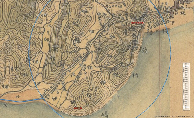 極楽寺周辺の迅速測図