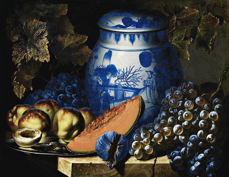 Pierre-Antoine Lemoine - Nature morte aux raisins, plat de pêches et potiche chinoise sur un entablement de pierre