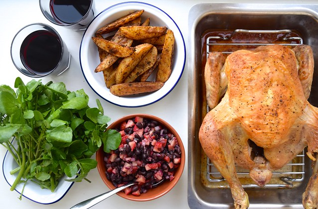 Daylesford Organic Roast Chicken with Black Bean and Strawberry Salsa | www.rachelphipps.com @rachelphipps