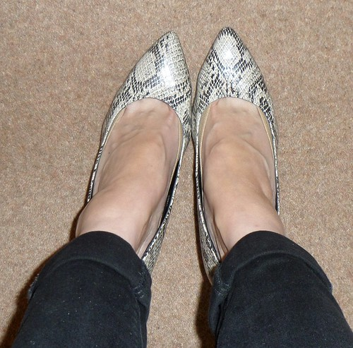 Matalan snakesin pointed toe court shoes