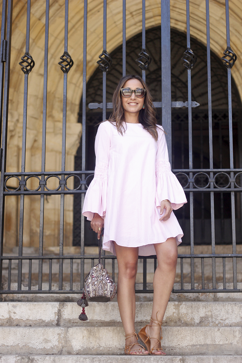 striped dress with bell sleeves summer outfit flat sandals sunnies05