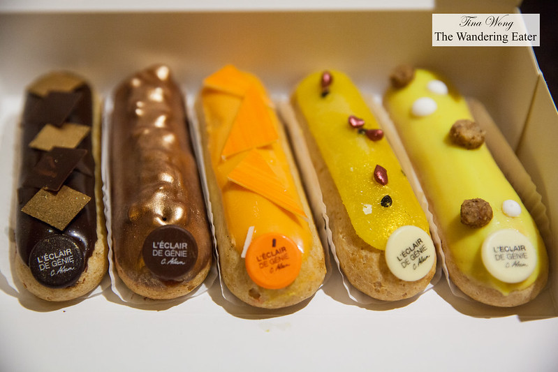 Our eclairs (left to right) - Chocolate Noir, Pecan Praline, Passion Mango, Passtion Raspberry, Yuzu Citron