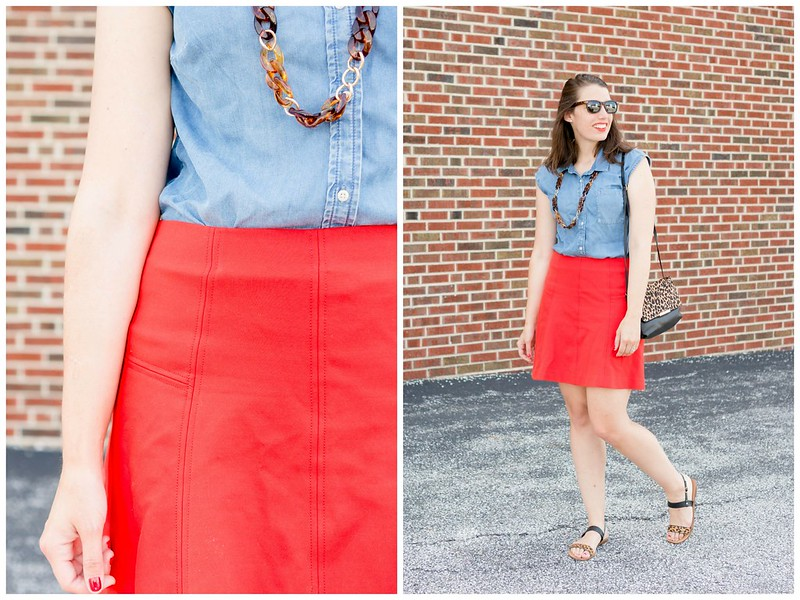 red skirt + chambray shirt + leopard print purse and sandals | Style On Target blog