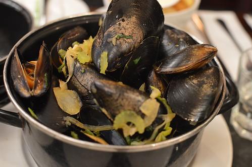Lobster brandy bisque mussels