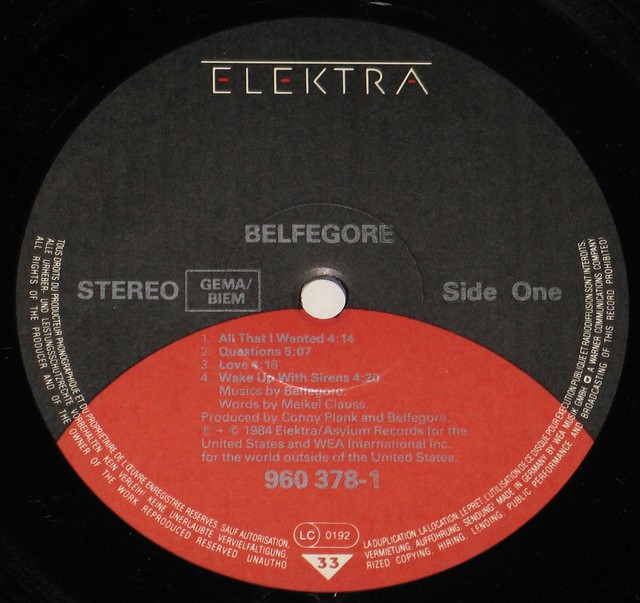 "BELFEGORE S/T SELF-TITLED Elektra 960 378 12"" vinyl LP"