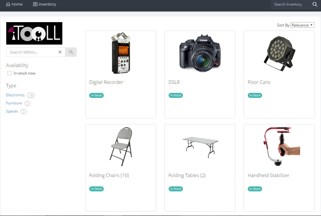 sample of iTooLL inventory of media & A/V tools