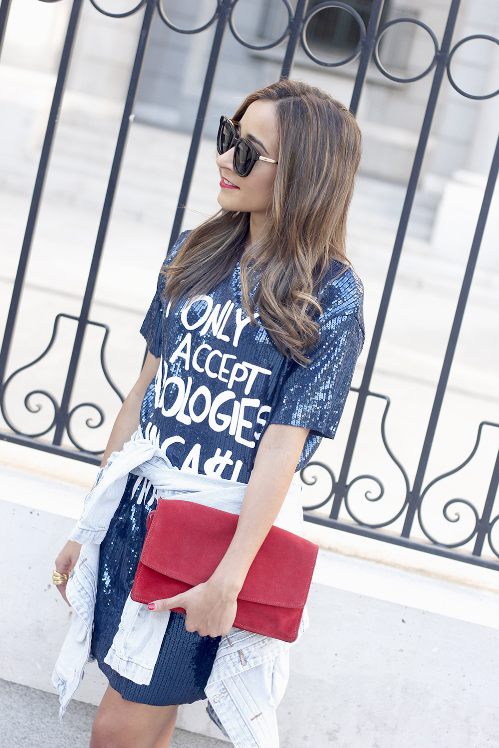blue sequined dress nude heels denim jacket sunnies red bag accessories style fashion outfit14
