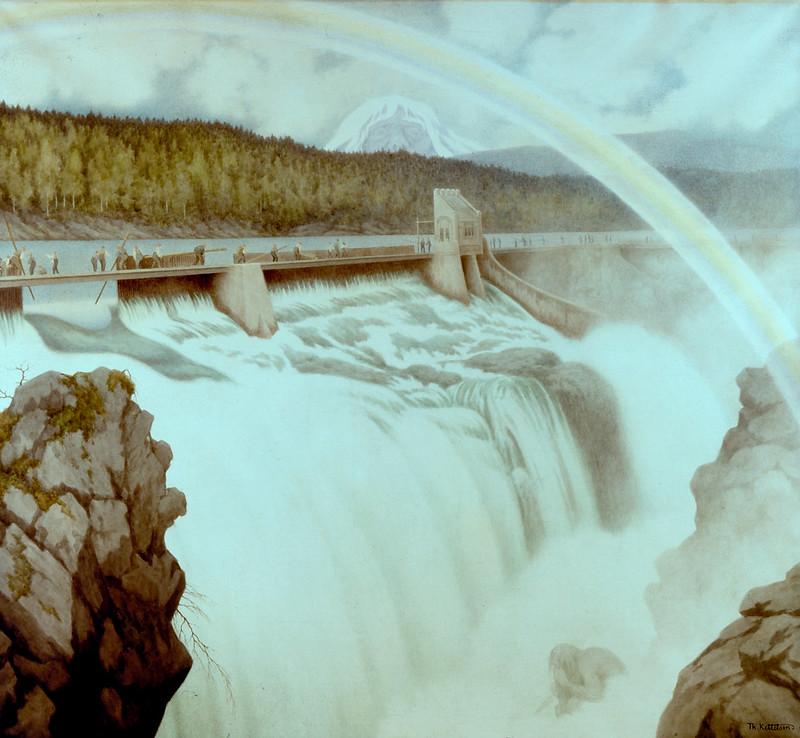 Theodor Kittelsen - The Dam at Lake Klouman, 1908