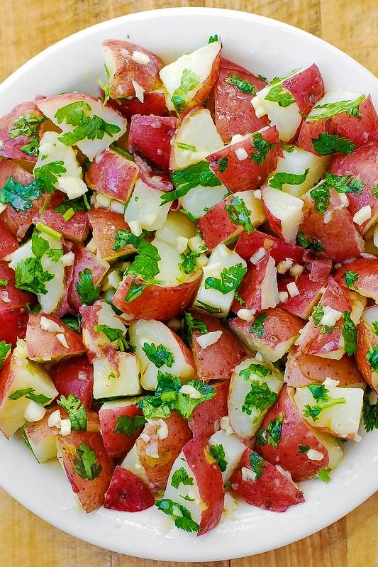 gluten free recipes, gluten free dinner, easy potato salad, red potatoes, cilantro, lime