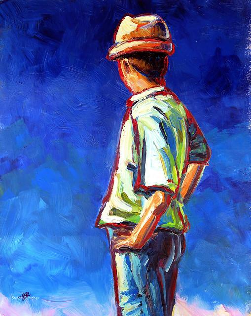 Figur (Junger Mann mit Strohhut)