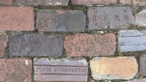Paving bricks in Pier Park, South Bend, Indiana