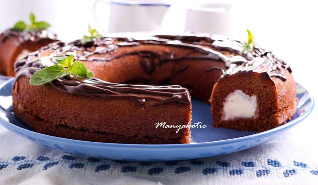 Chocolate freezer cake with ice cream