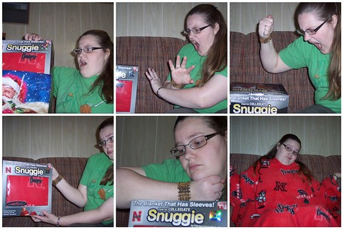 the stages of receiving a Snuggie: getting it, denial, anger, bargaining, depression, acceptance | by woot.com