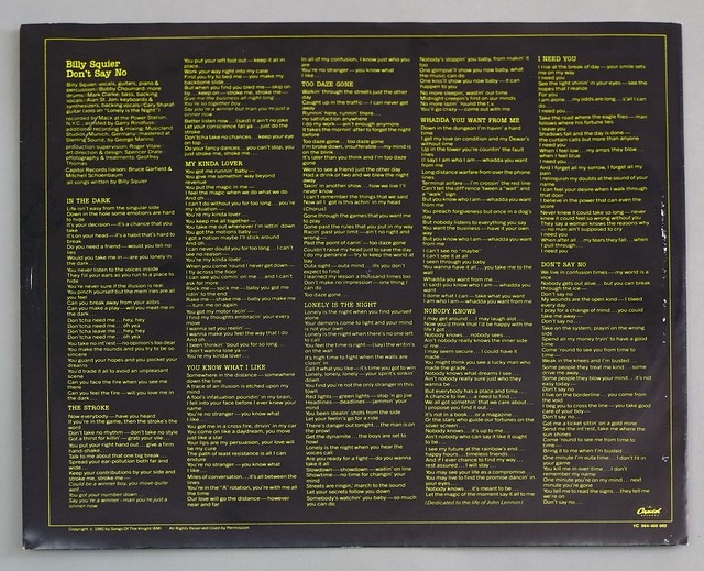 """BILLY SQUIER DON'T SAY NO 12"""" LP VINYL"""
