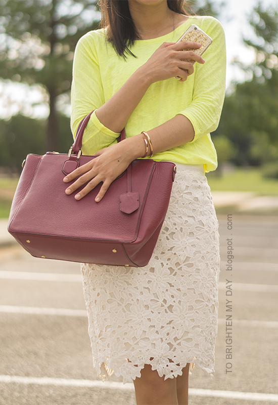 neon yellow top, off-white lace pencil skirt, burgundy purple tote, rose gold jewelry