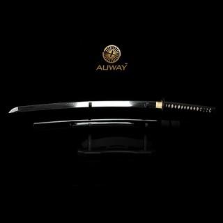 Auway-samurai-sword-Octagon-Tsuba-Black-scabbard-1