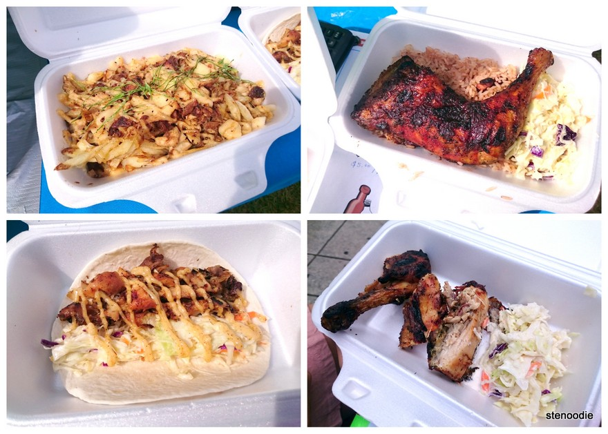 Jerk Chicken Poutine, Jerk Chicken with Rice, Jerk Chicken Tacos