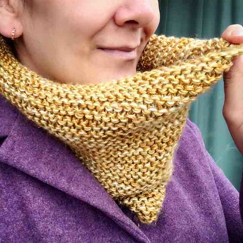 My second #ravellenics2016 project is off the needles! A soft shimmery cowl. I call it The Miller's Daughter. #gold #garterstitch #knitting #knit #ravelry #ravellenicgames #ravellenicgames2016 #teamcácamilis
