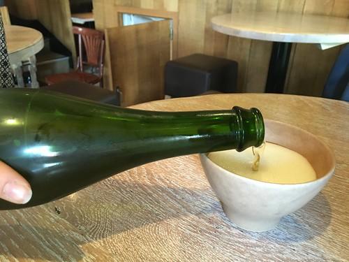 a bowl of cider, Breizh Café. Paris, France