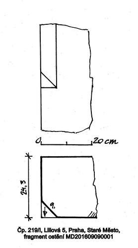 Čp. 219/I, Liliová 5, Praha, Staré Město, fragment ostění MD201609090001