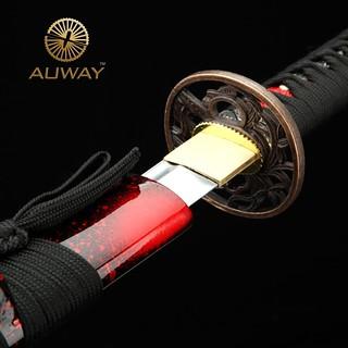 auway-samurai-sword-Orchid-Tsuba-Red-scabbard-1