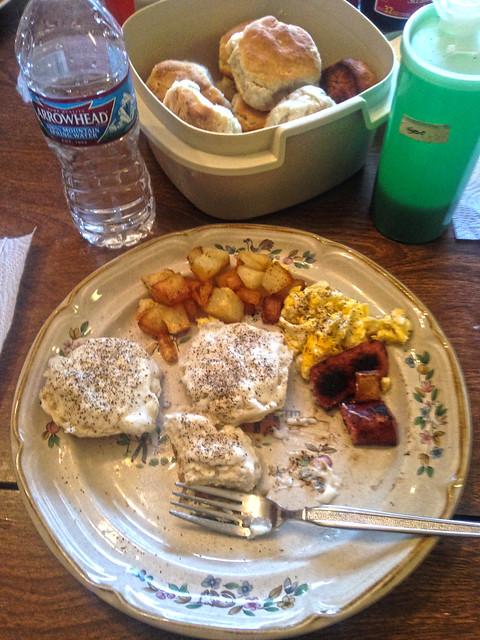Moms bisquits and gravy ummmm