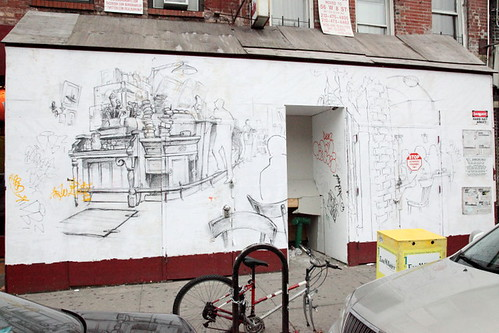 Artist's conception, perhaps, of a restaurant on the site of the former Economy Foam, East Houston Street, Manhattan | by Eating In Translation