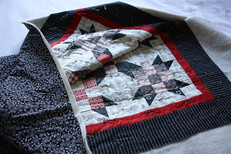 9 Patch - Basted and ready to quilt