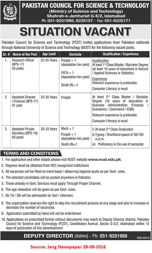 Pakistan Council for Science and Technology Jobs