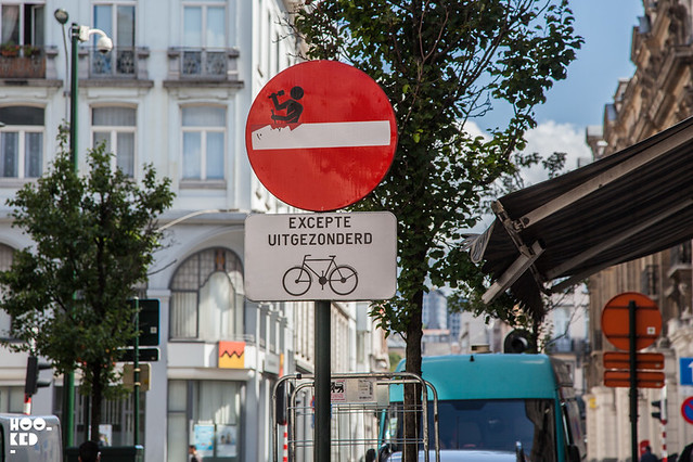 Clet Albram, Street Art Signage in Brussels, Belgium. Photo ©Mark Rigney / Hookedblog