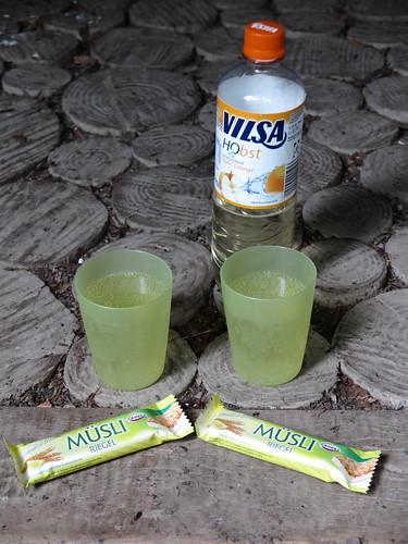 Vilsa H2 Obst Apfel-Orange und Buttermilch-Zitrone-Müsliriegel bei Rast im Bexter Wald