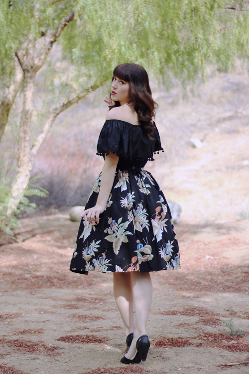 Hearts and Found Bardot Top in Black Lola Skirt in Lobster Season