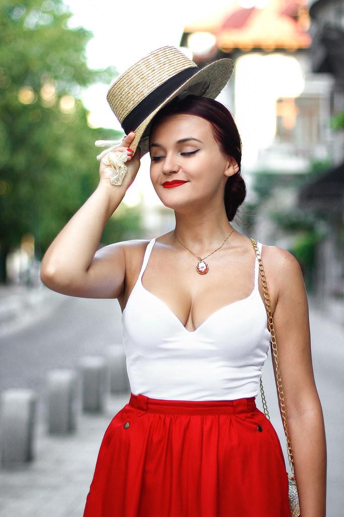 red midi skirt3