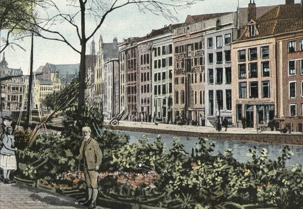 Marché aux fleurs flottant d'Amsterdam vers 1910.