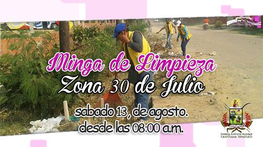 "Minga de Limpieza ""Zona 30 de Julio"" sabado 13 de agosto"