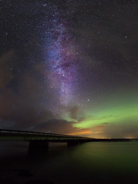 The Milky Way and Aurora at Markarfljots bridge, Iceland