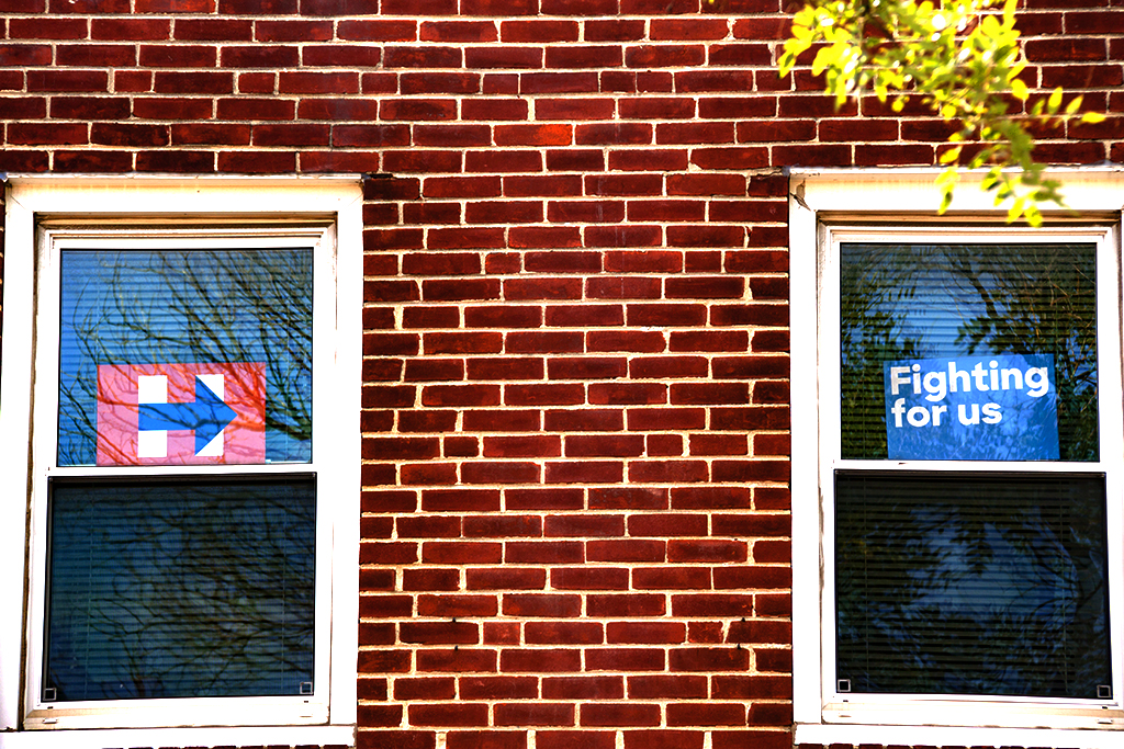 Hillary campaign signs in windows on 9-4-16--Center City