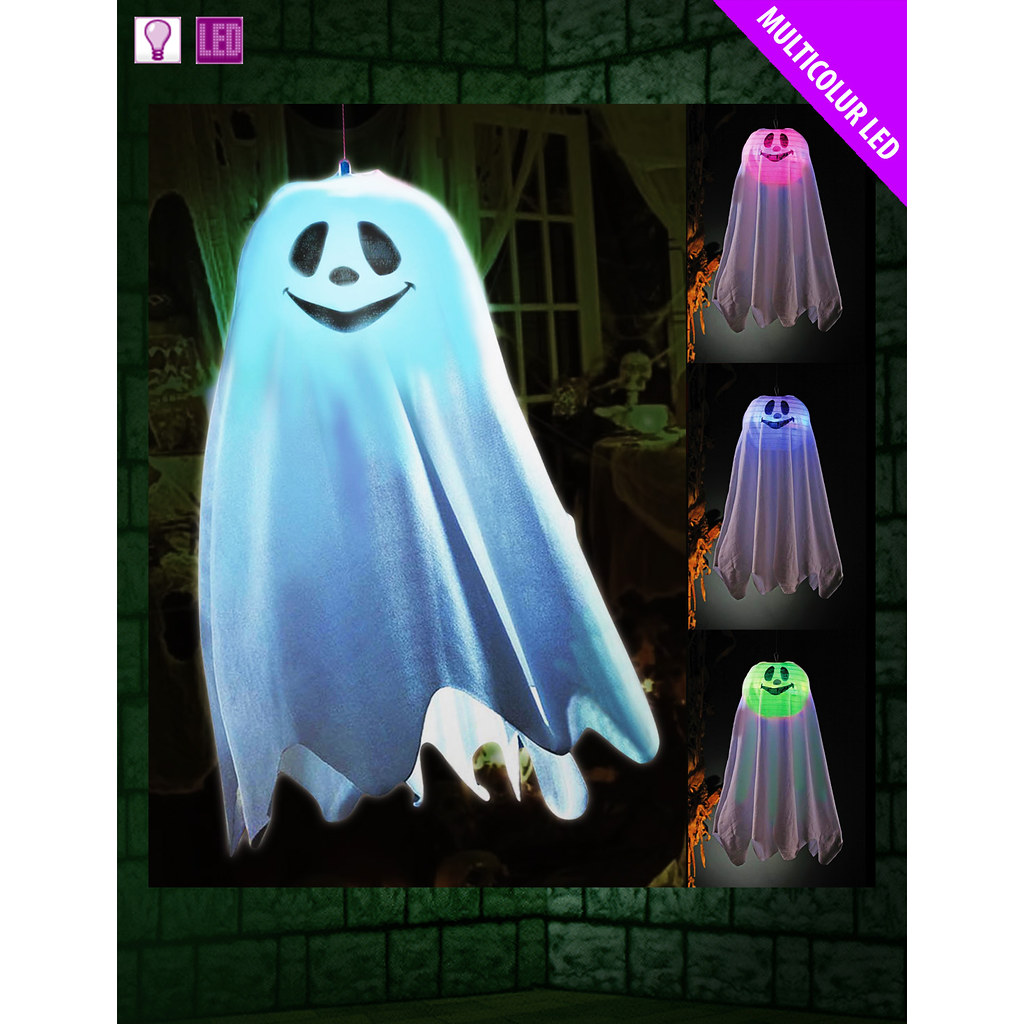 HALLOWEEN HANGING GHOST LIGHT UP COLOUR CHANGING HALLOWEEN - Light Up Halloween Decorations