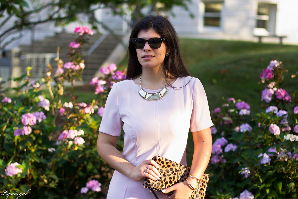 pink sheath dress, clair v leopard clutch, gorjana vista cuff-7.jpg